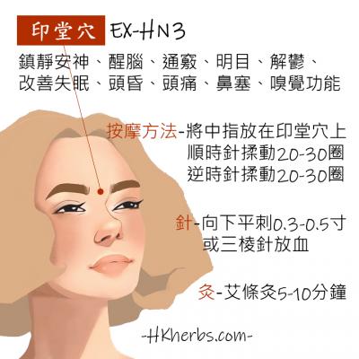 印堂穴 EX-HN3 - 鎮靜安神、醒腦、通竅、明目、解鬱、 改善失眠、頭昏、頭痛、鼻塞、嗅覺功能